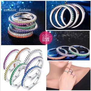 7pcs/Set 925 Sterling Silver CZ Stackable Rings